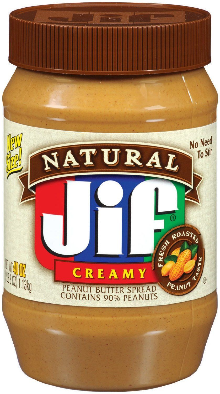 http://worldgrocerystoreandmore.ecrater.com/p/19739801/ Jif Natural Creamy Peanut Butter 40 oz (2 lbs. 8 oz.).  Contains no preservatives.  No refrigeration required, No need to stir.  Fresh roasted peanut taste.  Contains 90% peanuts.