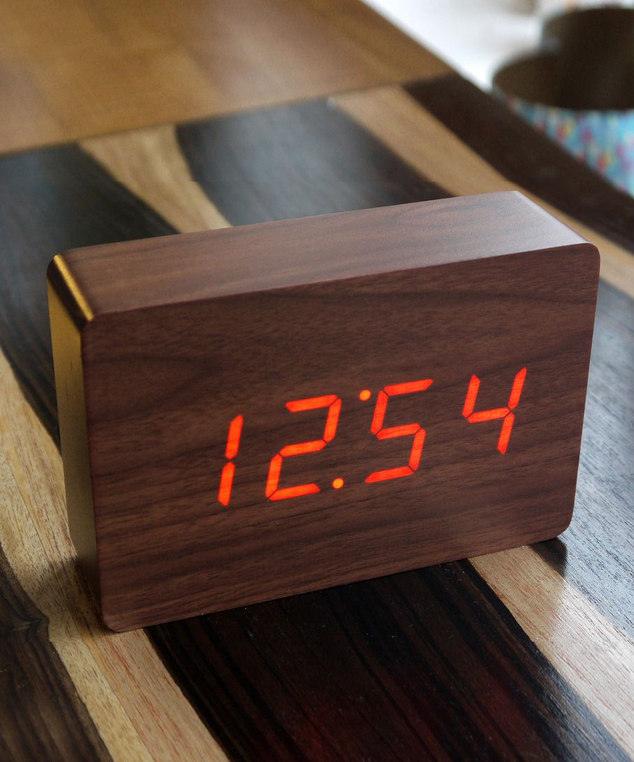 Walnut wood clock minimalist art piece or natural decor for Minimalist alarm clock