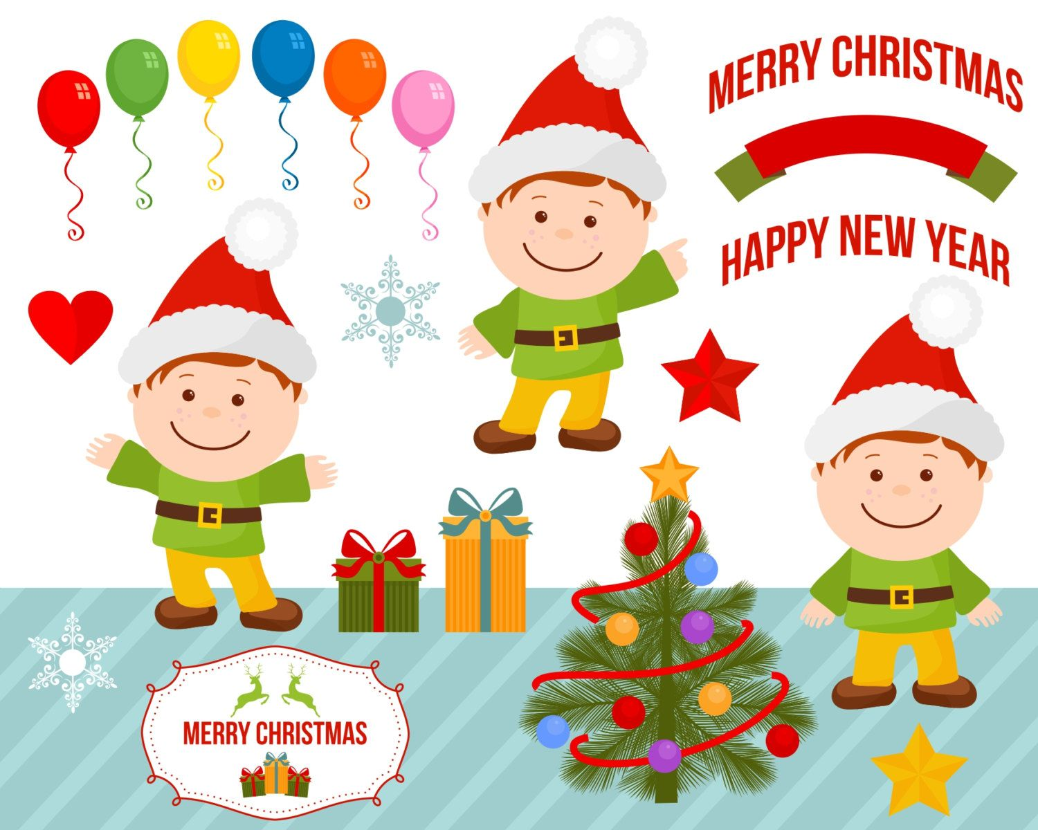 Boy Gnome Christmas Party Clipart Clip Art Balloons Gifts