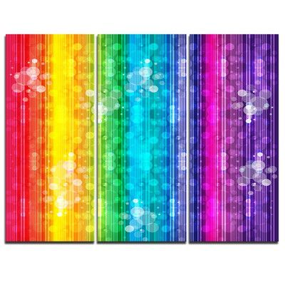 DesignArt Rainbow Effects Illustration - 3 Piece Graphic Art on Wrapped Canvas Set