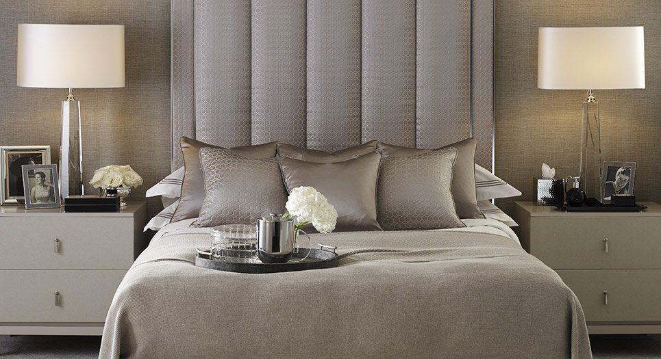 soft shimmering neutral, luxury bedroom, high upholstered headboard || Timeless Neutrals collection at LuxDeco.com