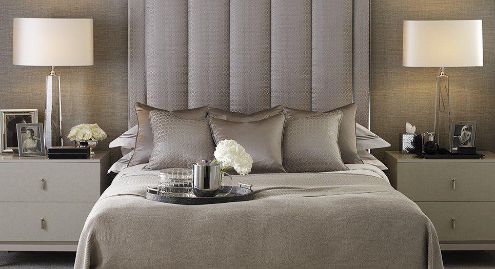 Soft Shimmering Neutral Luxury Bedroom High Upholstered