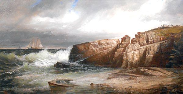 """Ships in Casco Bay,"" Harrison Bird Brown, oil on canvas, 25 x 48"", Oxford Gallery."