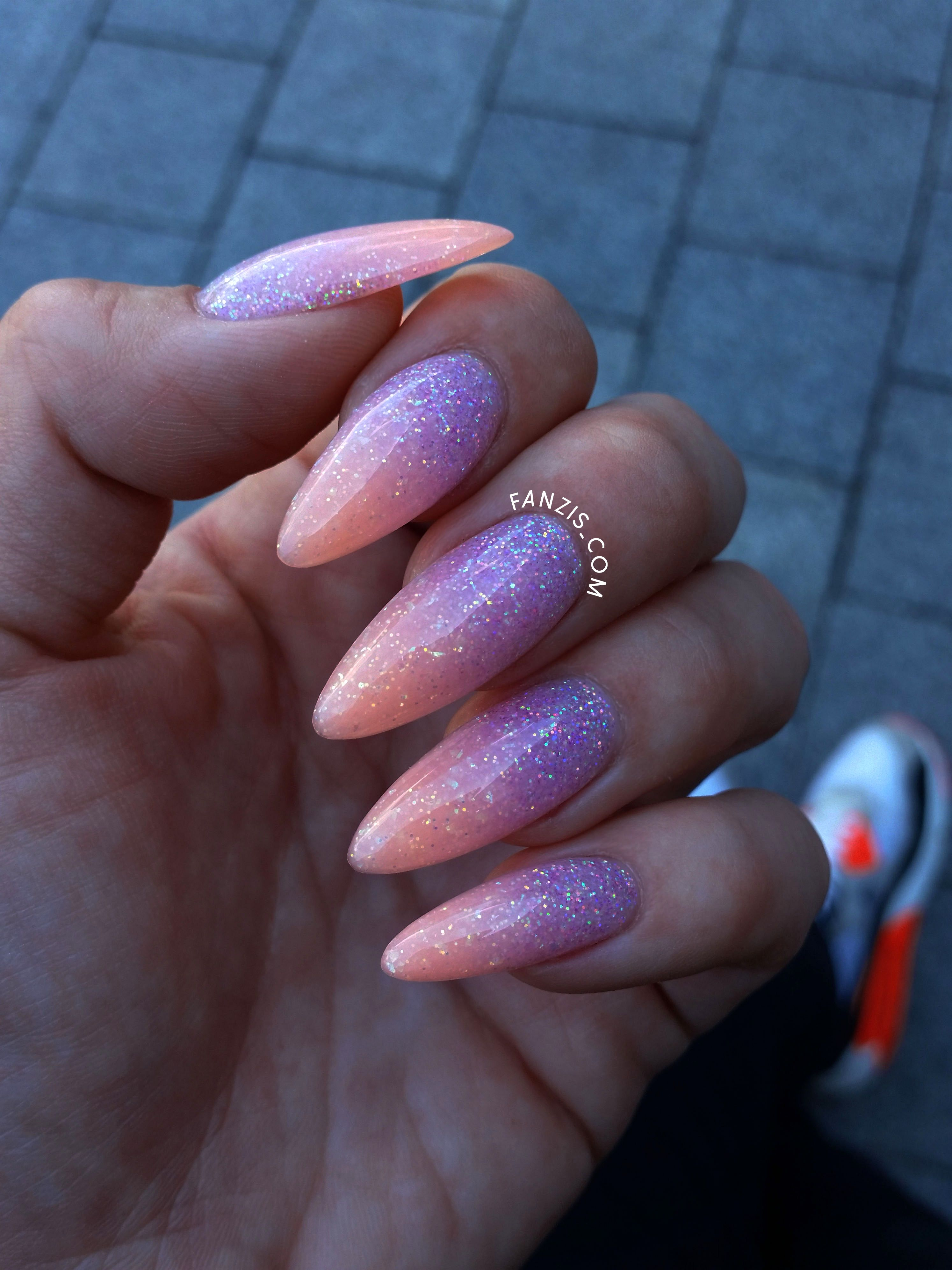 Neon Ombre Glitter Nails Oval Acrylic Nails Coffin Nails