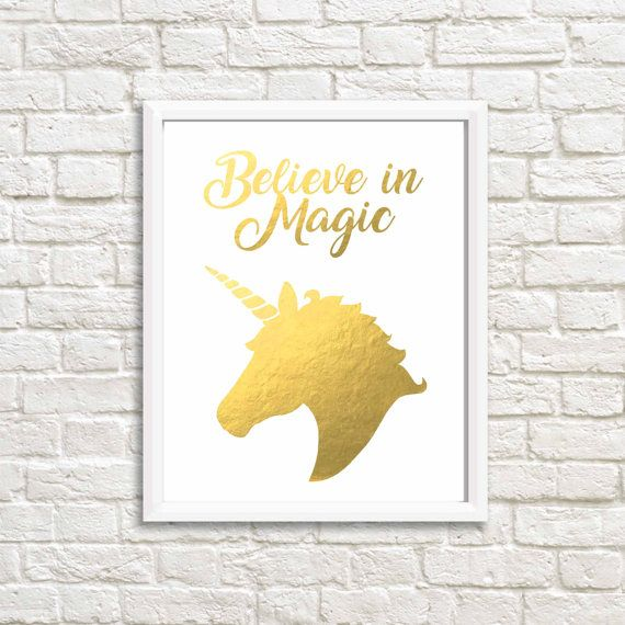Gold wall decal, unicorn gold foil print, inspirational wall art ...