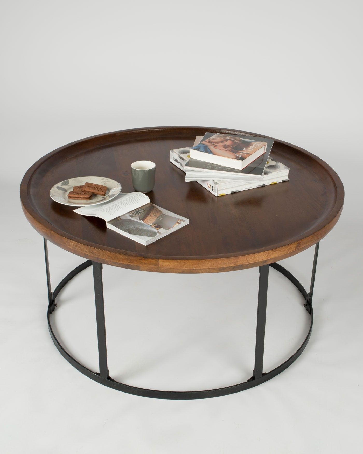 Industrial Round Coffee Table With Dark Wood Top And Steel Frame Minimalist Coffee Table Round Wood Coffee Table Dark Wood Coffee Table [ 1750 x 1400 Pixel ]