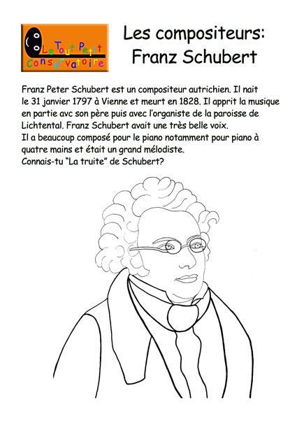 Franz Peter Schubert Compositeur Autrichien Dessin Coloriage Musique Pour Enfants Coloriage Musique Compositeurs Musique