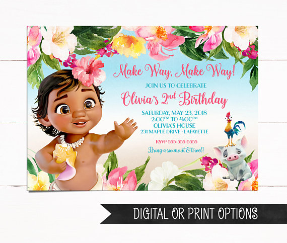 Baby Moana Invitation Birthday