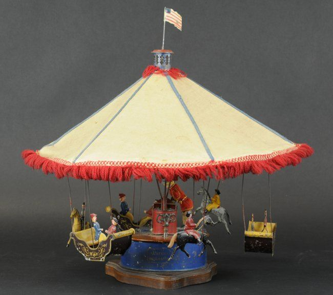 Althof Bergman 1870's Tin Wind-up Ty Carousel