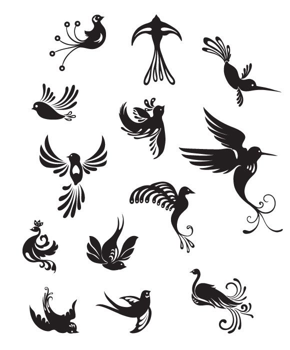 WDL Premium: Bird Vector Pack | Tattoos | Nail art designs