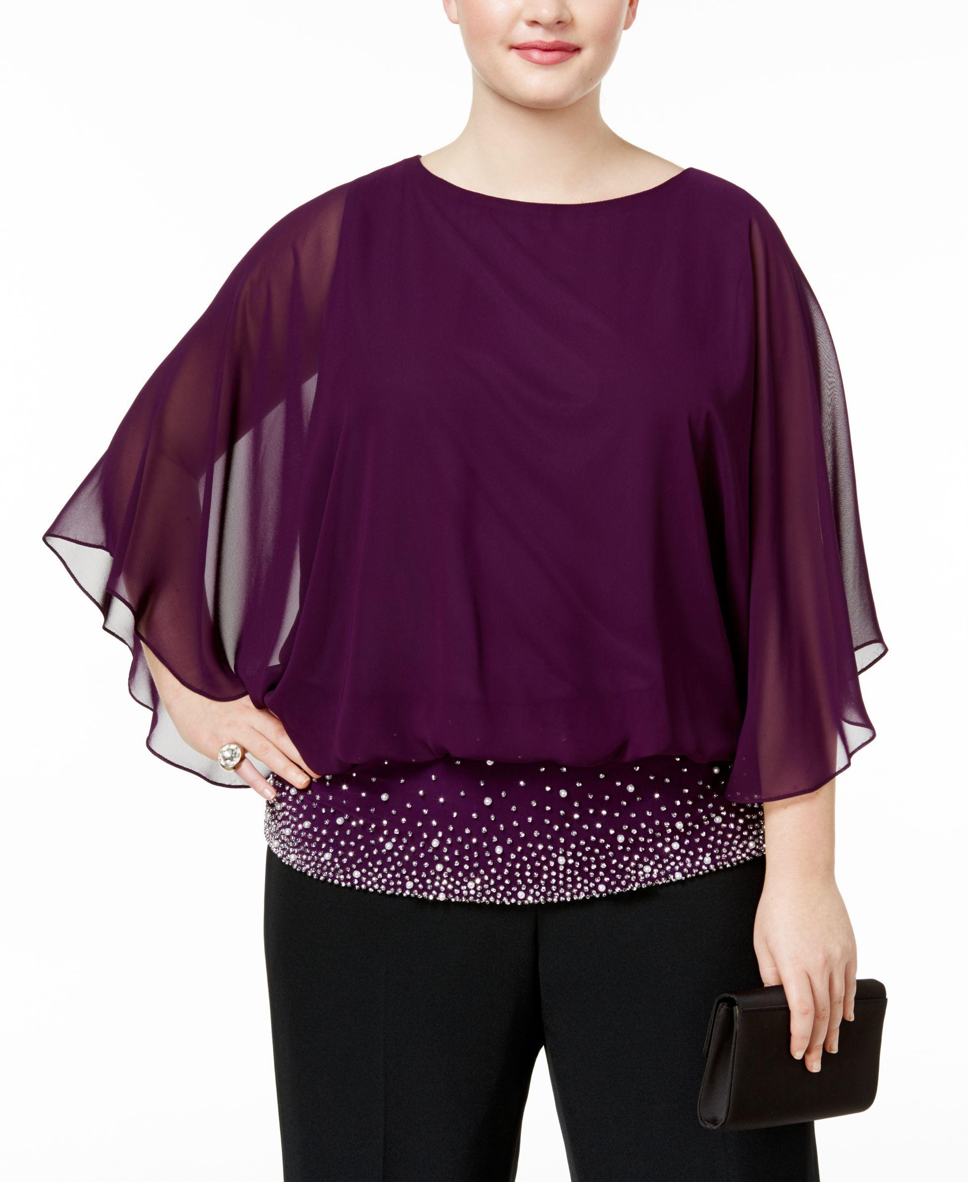 566f5d37b20 Msk Plus Size Embellished Chiffon Blouse
