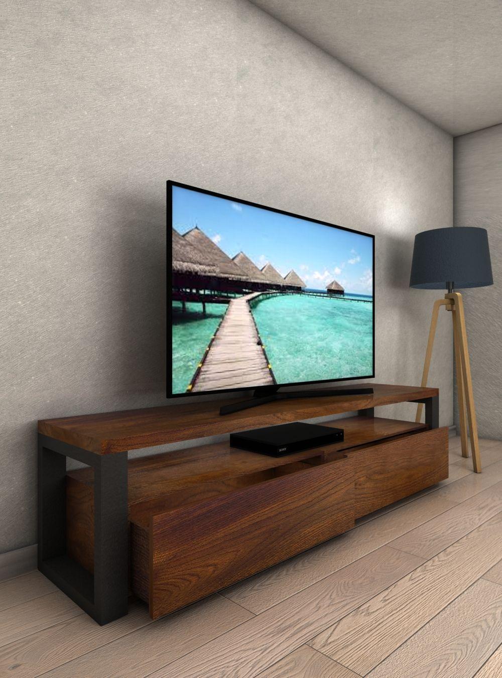 Mobile Porta Tv Legno Noce.Porta Tv In Legno Di Noce E Ferro Modello Fred Mobili Nel 2019
