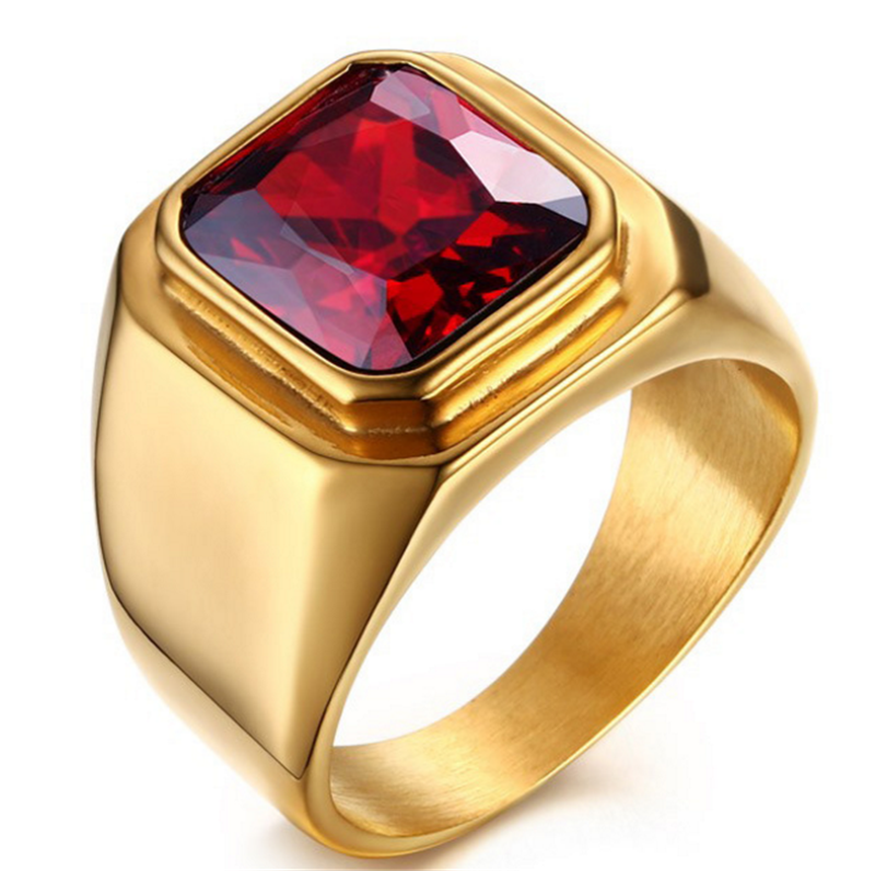 Vintage gold old Plated Crystal Ring For Men Stainless Steel Big ...