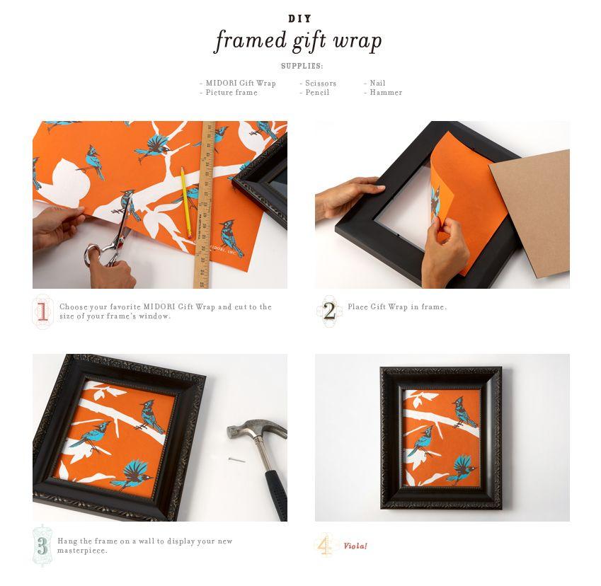DIY Framed Gift Wrap Idea from Midori | DIY #2 | Pinterest | Diy ...