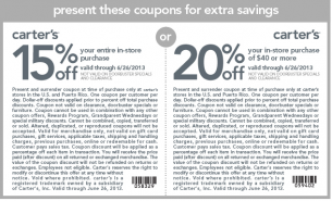 Carters 20 And 15 Percent Off Print Coupons Coupons Carters
