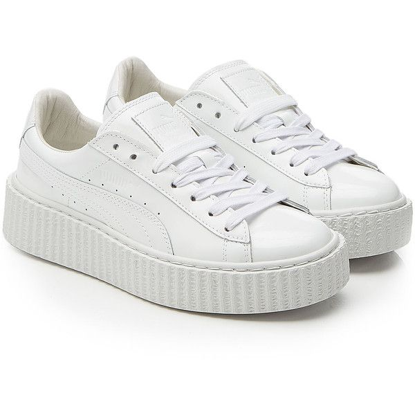 Fenty x Puma by Rihanna Puma x Rihanna Fenty Patent Leather Creepers ($160)  ❤ liked on Polyvore featuring shoes, sneakers, clothes - shoes, white, ...