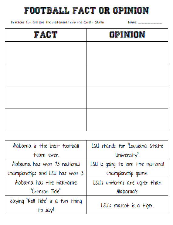 Our Cool School Fact Opinion And Roll Tide Teaching Writing Persuasive Writing Persuasive Text