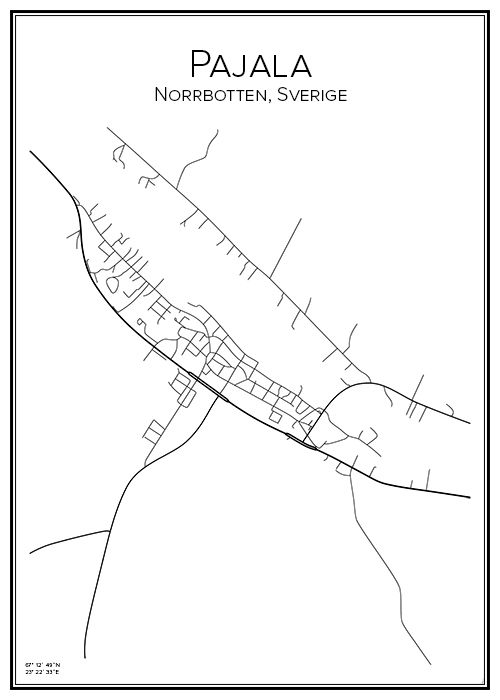 Karta Sverige Pajala.Pajala Mining City Maps Poster Och Map