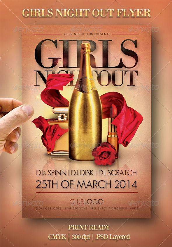 Girls Night Out Flyer Print Templates Flyers Events To Make This Pin Discoverable All Style Bottle Celebration Champ Girls Night Out Girls Night Night Out