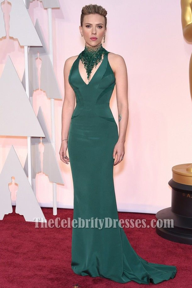 Scarlett Johansson Emerald Green Evening Dress 2015 oscar Red ...