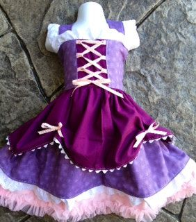 Tangled Inspired Knot Princess Dress---Custom to fit--Sizes 12m to 8y.