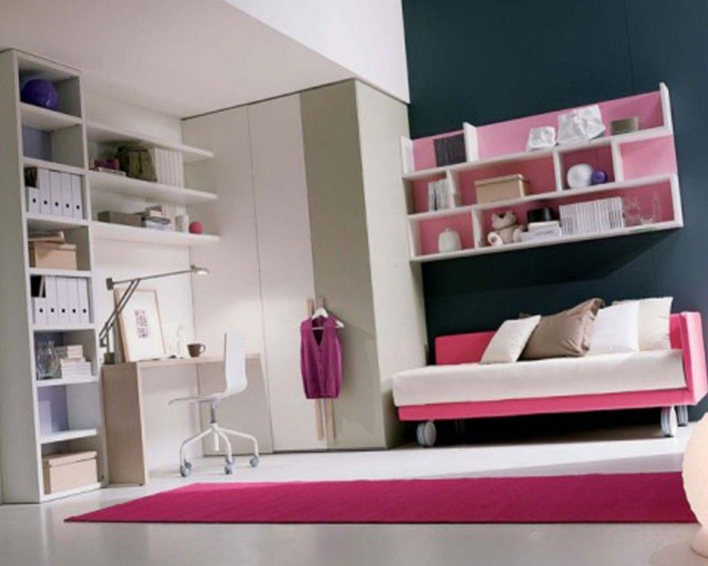 Kids room cute girls bedroom ideas with white pink comfy sofa bed also pink rugs and corner - Amazing teenage girl desks ...