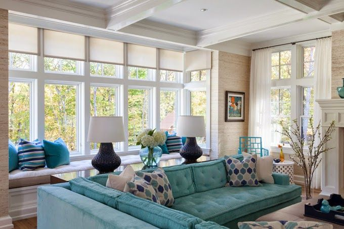 Turquoise Sectional Plum Interiors Living Room Turquoise