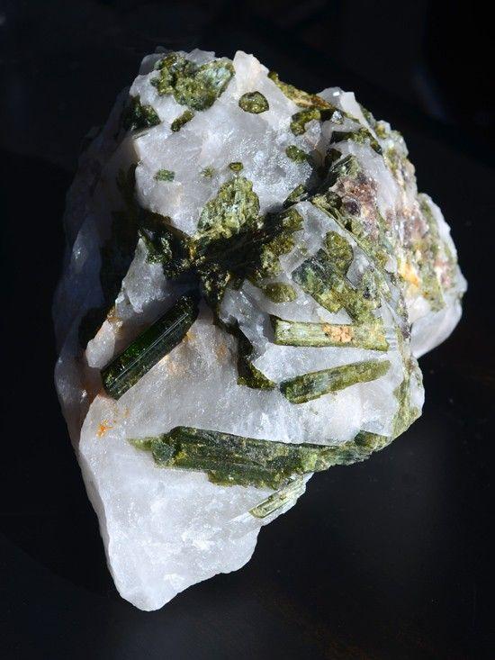 Green Tourmaline with Quartz Matrix.