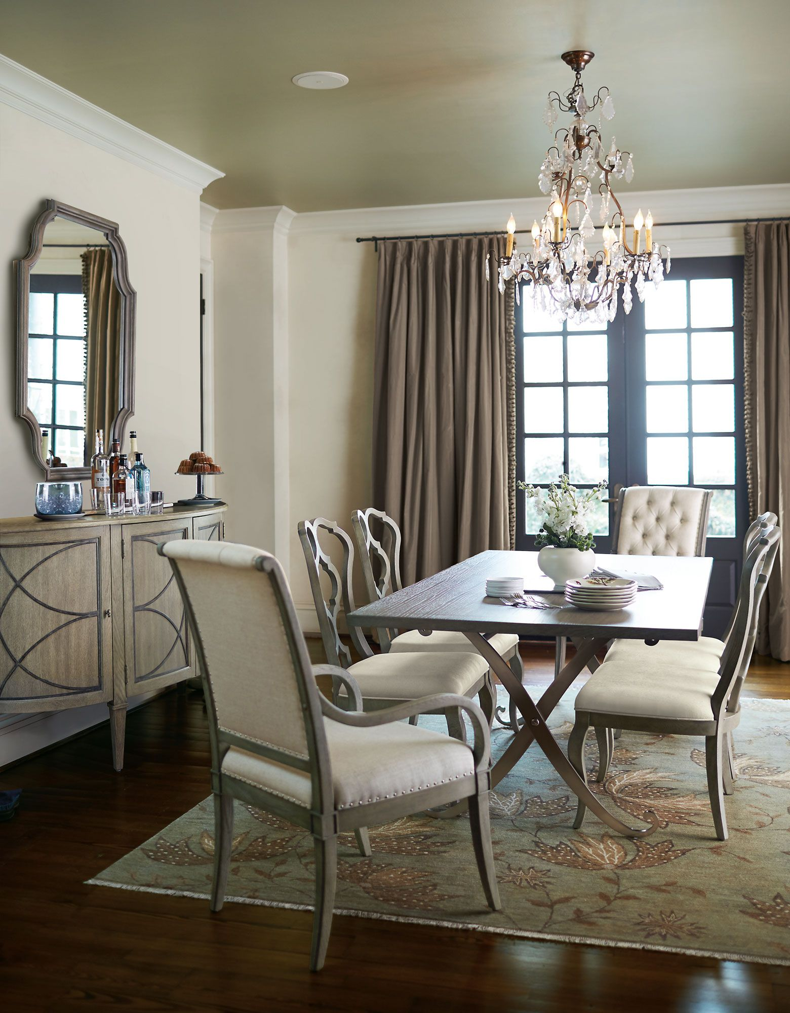 Bernhardt Marquesa 7 Piece Rectangular Dining Room Set In Gray Cashmere