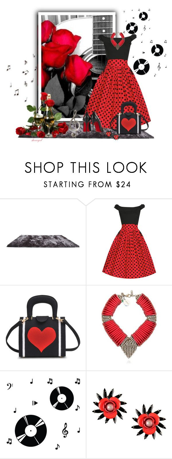 """""""Music, Roses and Champagne"""" by sherryvl ❤ liked on Polyvore featuring Antonio Marras, Gold Sparrow, Olympia Le-Tan, Sveva, Dot & Bo, MSGM and Christian Louboutin"""