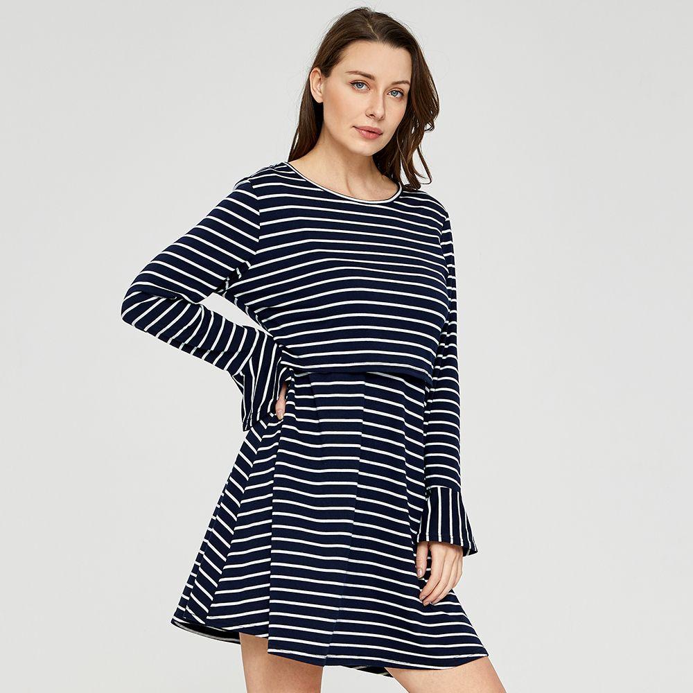 Casual Striped Long Sleeve Nursing Dress Long Affiliate Striped Casual Dress Adver Nursing Dress Striped Long Sleeve Fashion [ 1000 x 1000 Pixel ]