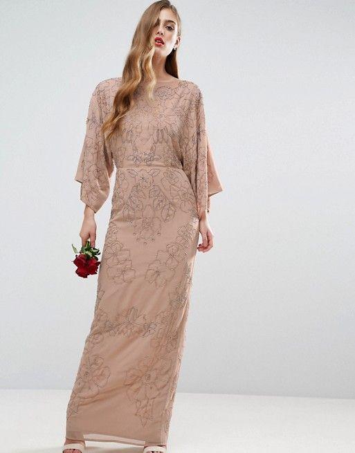 Elegant ASOS WEDDING Embellished Kimono Maxi Dress