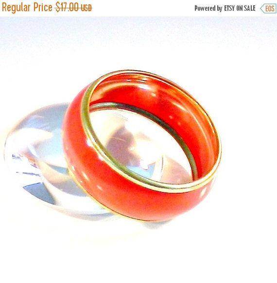 ON SALE Red Enamel Bangle Bracelet Vintage Gold Tone Red/Orange Colored Bangle