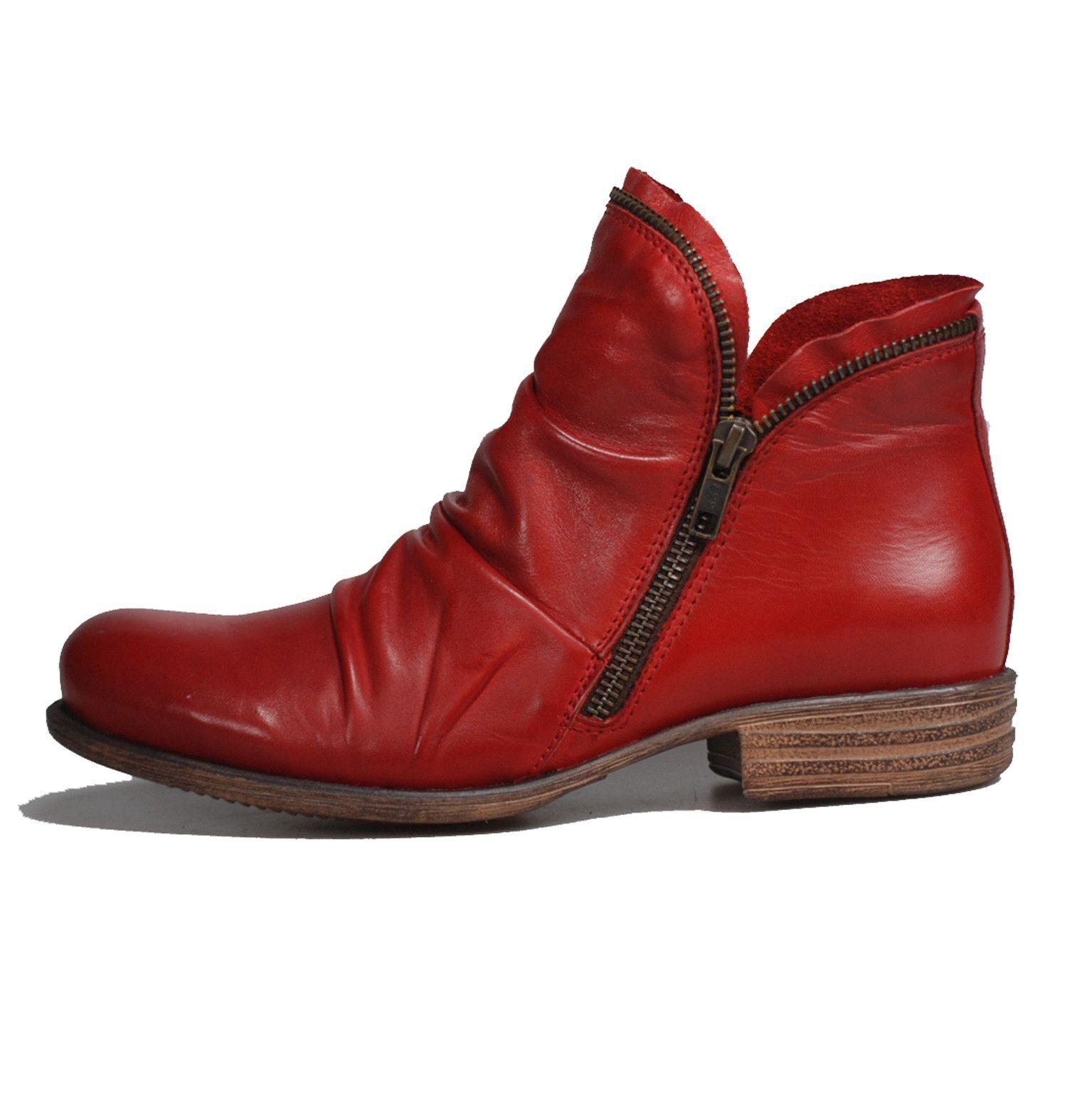 Miz Mooz Luna Red Flat Leather Boots Miz Mooz Boots Shoe Boots
