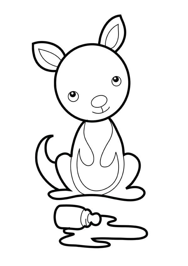 Kangaroo With Joey Coloring Pages Animal Coloring Pages Cute