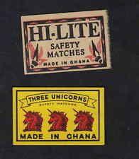 Ancienne allumettes Ghana Trois Licornes MADE IN CHINA HI LITE SÉCURIT ÉALLUMETTES Ancient matches Ghana Three Unicorns MADE IN CHINA HI LITE SAFETY MATCHES