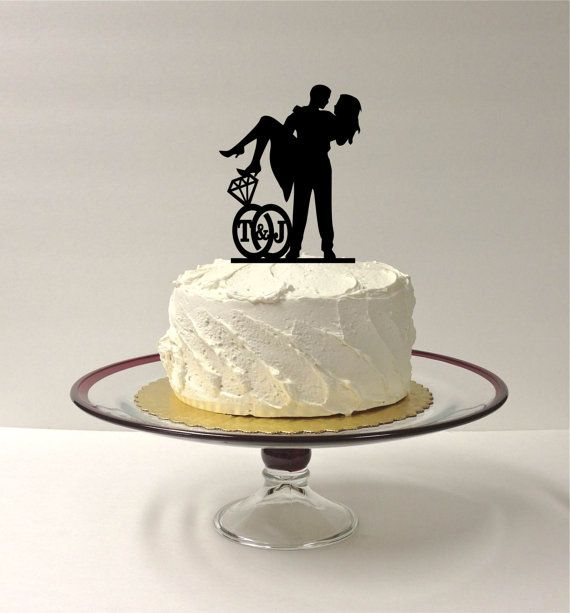 MADE In USA Personalized Wedding Cake Topper With YOUR Initials Of The Bride And Groom