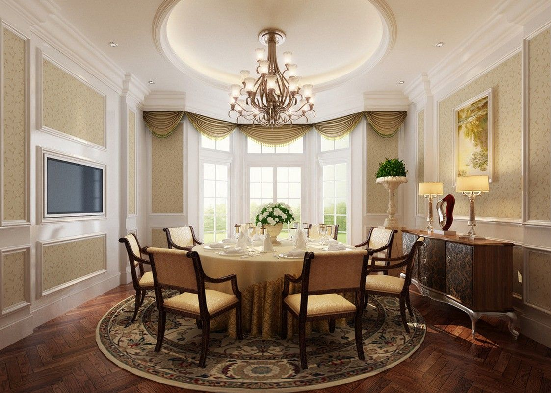 French Classic Dining Room Interior Design With Round Table