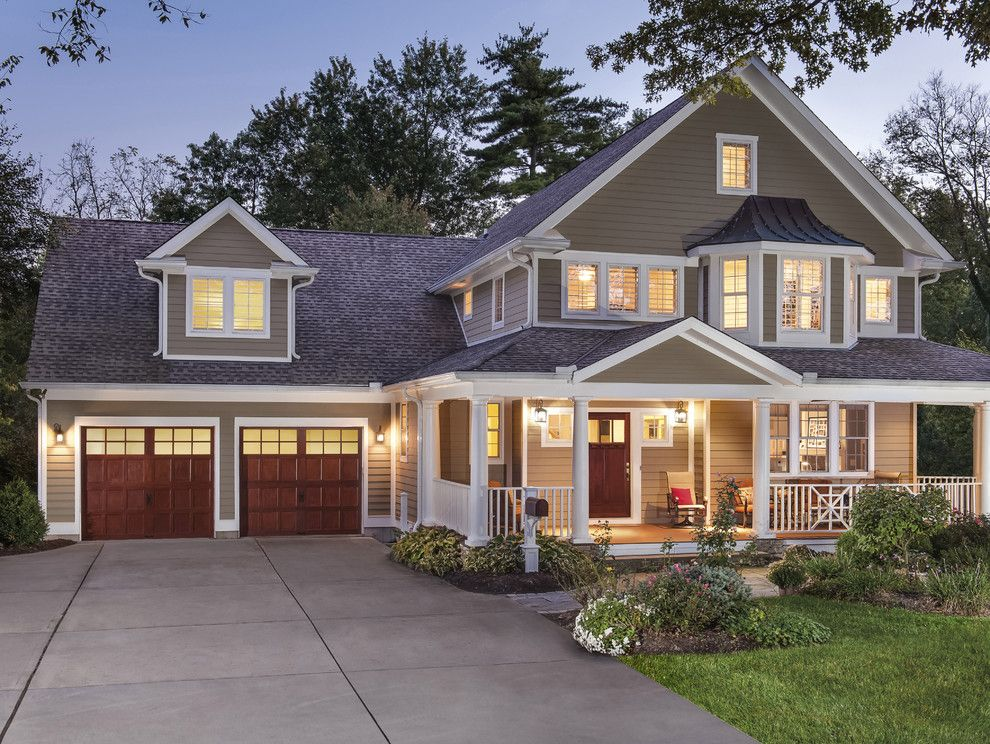 Chic Sandboxes In Exterior Contemporary With Red Garage Door Next To