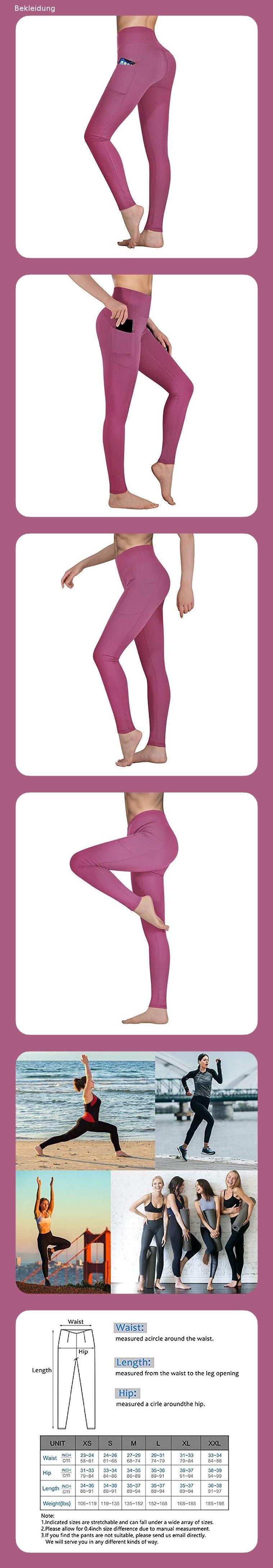 Occffy Sporthose Damen Yogahose Laufhose Fitnesshose Yoga Sport Leggings tights f/ür Damen mit Taschen DS166