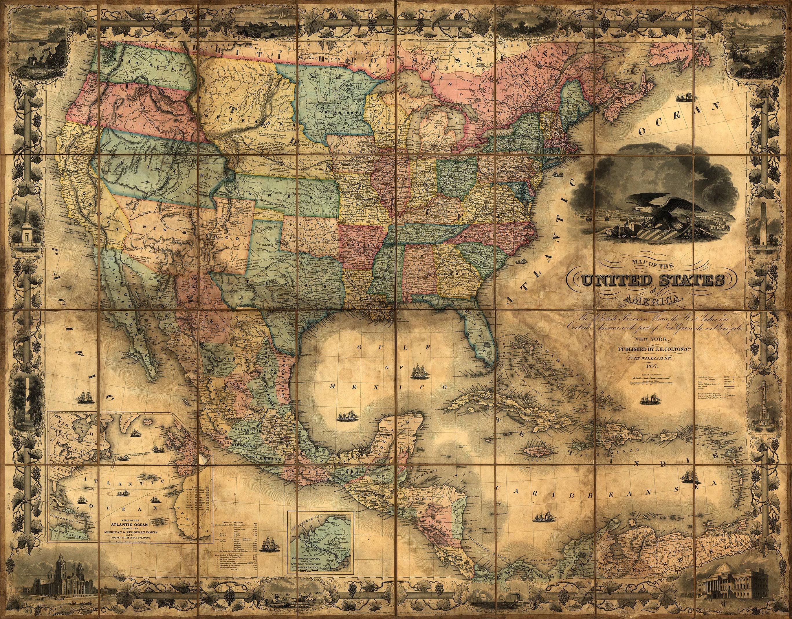 Map Usa States Abbreviations%0A Historic Map of the United States      Wall Mural  Peel and Stick