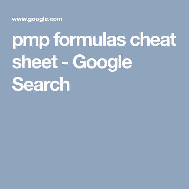 Pmp Formulas Cheat Sheet - Google Search