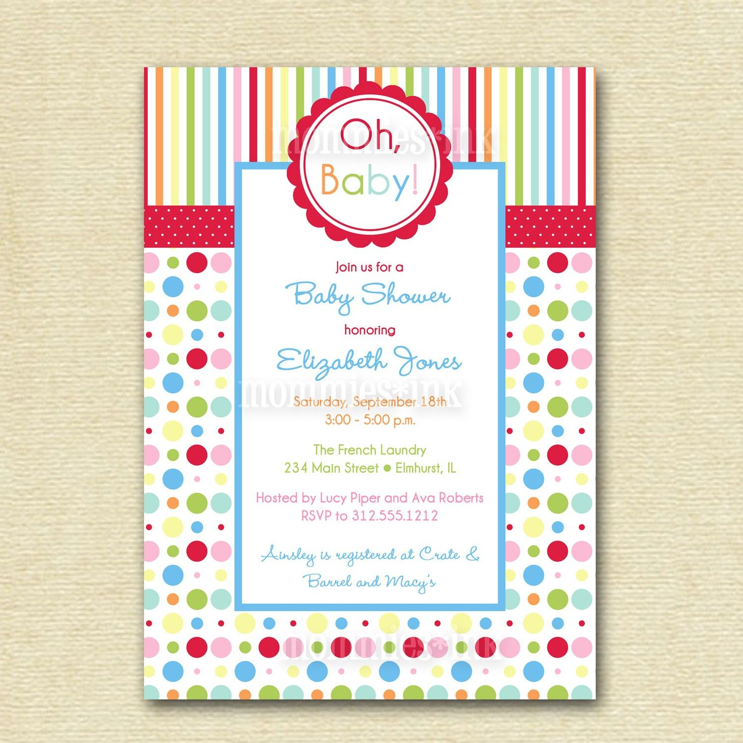 Rainbow Baby Shower Invite PRINTABLE INVITATION by MommiesInk