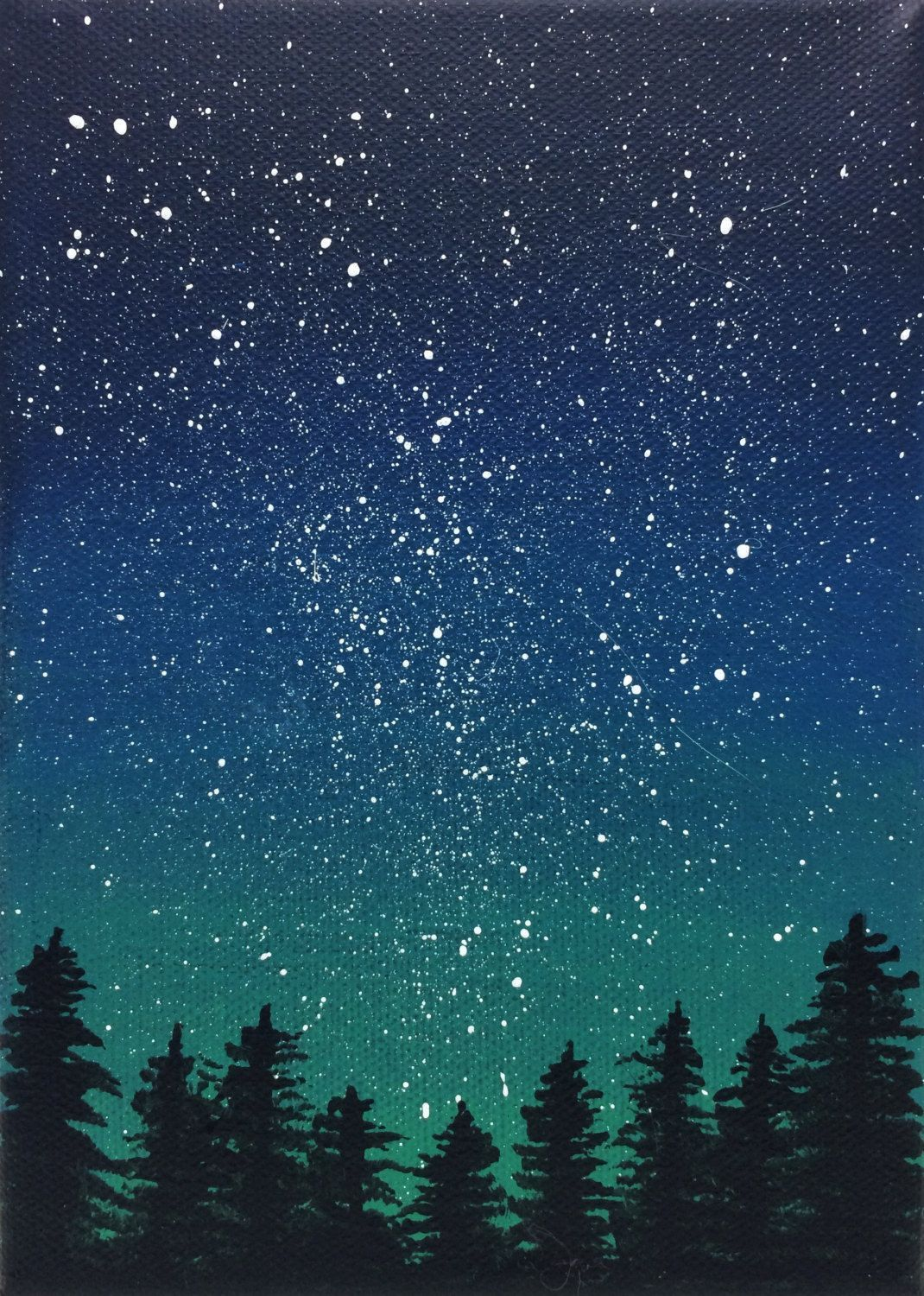 This Stunning Night Sky Scene A Perfect Addition To A Bookshelf Or Small Wall Space Available At Https Www Etsy Com Listing 563721253 Night Sky Painting Starry Goruntuler Ile Tuval