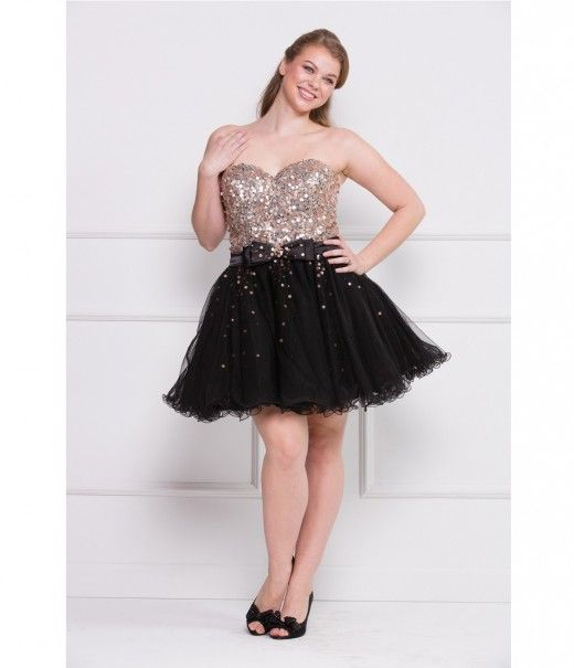 Black & Gold Strapless Sequin Short Plus Size Prom Dress | Plus Size ...