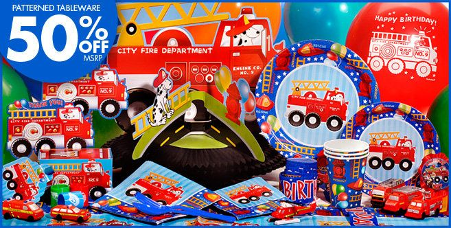 3rd birthday party ideas Fire Engine Party Supplies Fire Engine
