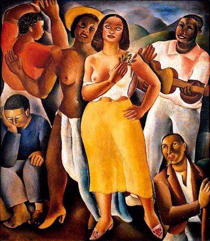 "Quadro ""Samba"" de Di Cavalcanti , quadro se perdeu num incêndio"