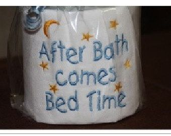 Machine Embroidered After Bath Bed Time Toilet Paper