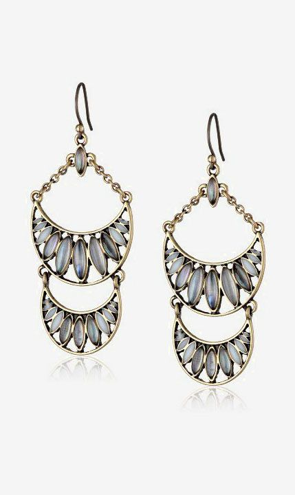 Lucky Brand Set Stone Chandelier Drop Earrings