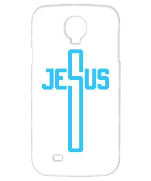 JESUS MY PROTECTOR (sky blue on white GALAXY S4 MOBILE COVER) jesus-my-protector-sky-blue-on-white-galaxy-s4-mobile-cover
